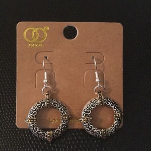 Drop Earrings with silver scrollwork and gold